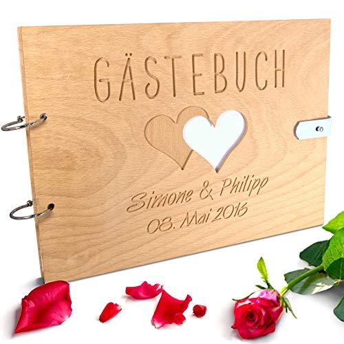 Handgearbeitetes Gästebuch zur Hochzeit aus Holz mit personalisierter Gravur & Lederverschluss - 150 Seiten / 75 Blatt DIN A4 Papier - 310 x 230 mm