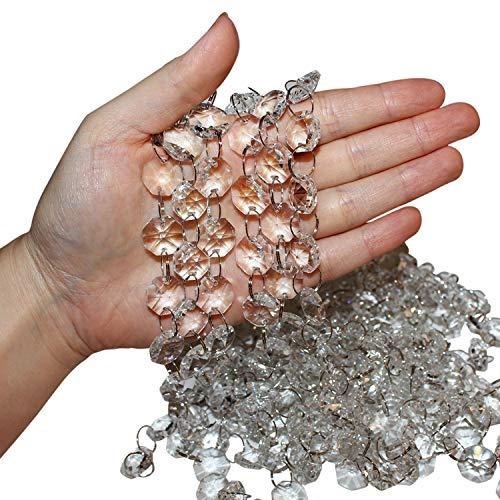 Belle Vous Transparente Kristall Kette Perlen Set (6 Stück - Jede 1 m Lang) 2 cm Breite Transparente Glaskristalle in Achteckform für Kronleuchter, Türvorhänge, Hochzeitsdeko, Schmuckherstellung Set