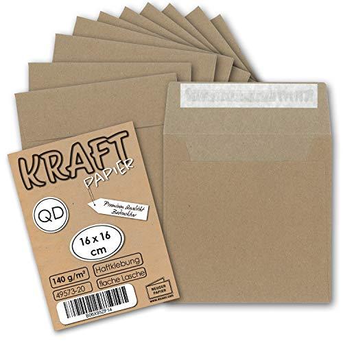 50x Vintage Brief-Umschläge quadratisch Kraftpapier 140 g/m² - 160 x 160 mm - braun/grau - Recycling - Haftklebung I UmWelt by GUSTAV NEUSER®