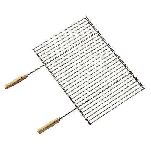 Barbecook Grillrost verchromt mit Holz-Griffe eckig Edelstahl Grill-Zubehör Grillfläche 70 breit 40-cm tief, silber