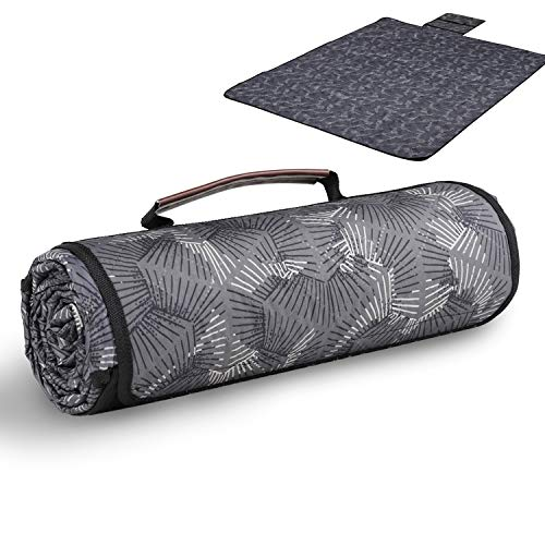 Sekey Waschbare Picknickdecke für Outdoor, Campingdecke mit Tragegriff, Picknick Matte bestehend aus DREI Schichten (150D Polyester, Baumwolle und 210 D Oxford Material), 170 x 140cm