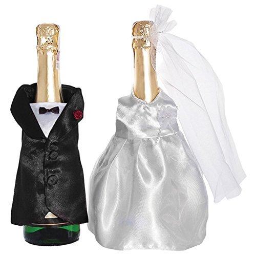 Champagner-Flaschen Hochzeit Sektflaschen Deko-Kleidung 2er Set Brautpaar Verkleidung. Von Haus der Herzen ®