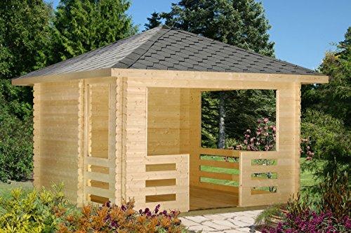 Pavillon Sorbus S11 inkl. Fußboden, naturbelassen - 28 mm Blockbohlen, Grundfläche: 10,50 m², Zeltdach
