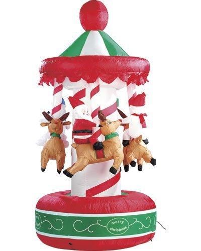infactory aufblasbar Weihnachten: Selbstaufblasendes Weihnachtskarussell 2 Meter (Weihnachtskarusell)