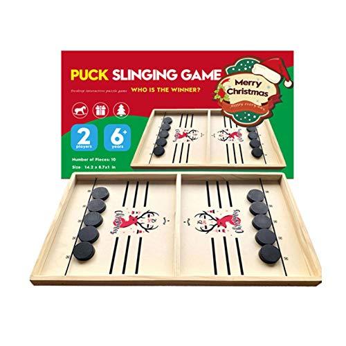 Brettspiel - Fast Sling Puck Game, Tischhockey Brettspiel, Katapultschach, Bouncing Chess Hockey Game, Puck Game Wood, Fußball. Für Kinder