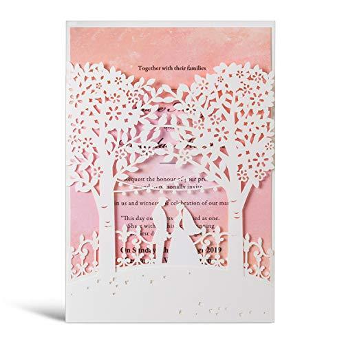 WISHMADE Weiß Hochzeitseinladungen 50 Stück lasergeschnittene Bäume mit Rosa Aquarelleinsatz für Braut und Bräutigam Herz-Design, elegante Verlobung Hochzeit Einladungen