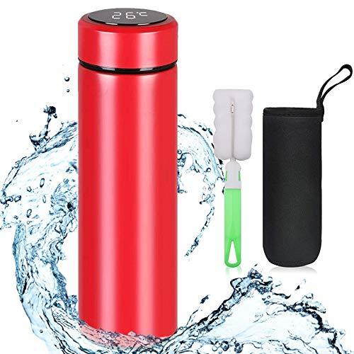 flintronic Thermosflasche, (500ml) Wasserflasche Vakuum Isolierbecher 304 Edelstahl, LCD-Touchscreen-Temperaturanzeige, Smart Becher Dichtflasche mit Becherbürste Ideal für Hitze und Kälte - Rot