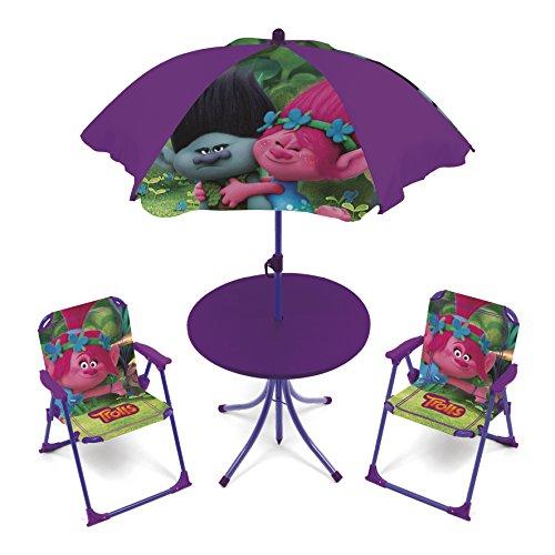 4tlg. Gartensitzgruppe Auswahl: Frozen - Star Wars - Spiderman - Hello Kitty - Minnie Maus Sitzgruppe Tisch + Sonnenschirm + 2x Stuhl Die Eiskönigin (Trolls)