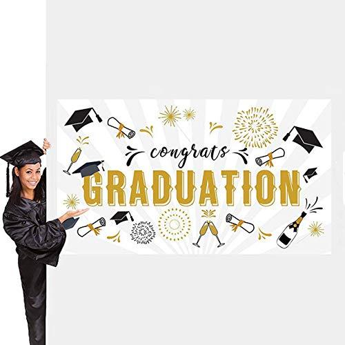 Abschluss Banner, Glückwunsch abschluss deko, Abschlussfeier Zubehör 2020, Foto Hintergrund Stoff Banner, 71x40 Zoll, für Abschlussfeier Home Dekorationen begünstigt Zubehör