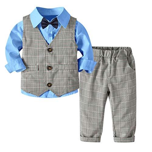 MRULIC Baby Junge Bowtie Gentleman Weste T-Shirt Hosen Hochzeit Anzug Tuch Sets(A-Blau,Höhe:100-110cm)