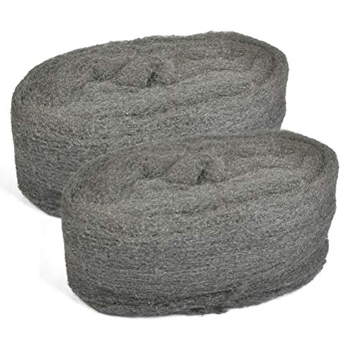 TIMESETL 2Rollen Stahldraht Wolle 0000 Grade Feinreinigung Draht Wolle Pads Polieren Stahl Wolle, Stahldraht Woll Polierpads für Küchenmöbel und Reinigung von Metallwerkzeugen