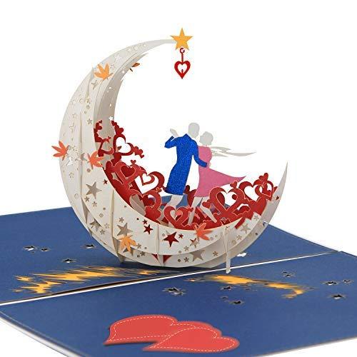Hochzeitskarte, Pop Up Karte, Romantische Karte, 3d Karte, Geburtstagskarte - Tanzen auf dem Mond