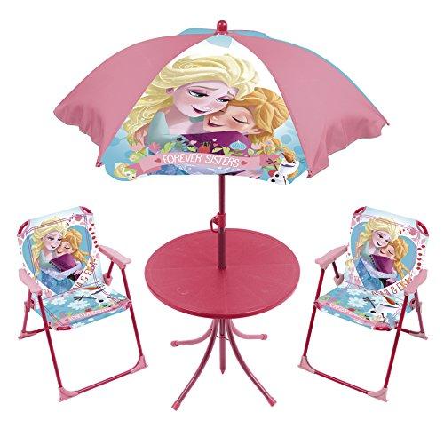 4tlg. Gartensitzgruppe Auswahl: Frozen - Star Wars - Spiderman - Hello Kitty - Minnie Maus Sitzgruppe Tisch + Sonnenschirm + 2x Stuhl Die Eiskönigin (Frozen)