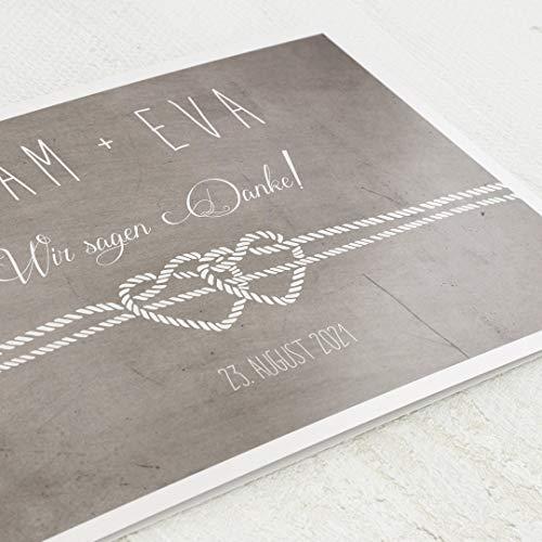 sendmoments Danksagung zur Hochzeit, Seile, 5er Klappkarten-Set C6, personalisiert mit Wunschtext & persönlichen Bildern, optional mit passenden Design-Umschlägen