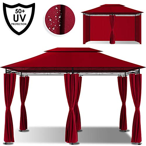 Kesser® - Pavillon 3x4m inkl. Seitenwände mit Reißverschlüsse, Eckig Festzelt Partyzelt Gartenlaube Gartenzelt Gartenpavillon UV-Schutz 50+, Rot