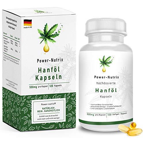 Hanföl Softgel Kapseln – hochdosiert | Premium Cannabis Sativa - 1000mg Tagesempfehlung | pflanzliches Omega 3 und -6 im optimalen Verhältnis 1:3 | Alpha Linolensäure (ALA) | Hanfsamenöl, made in DE