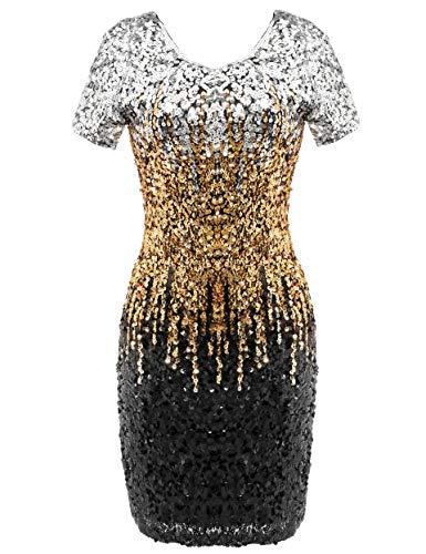 Coucoland Damen Pailletten Kleid V Ausschnitt Kurz Ärmel 20er Jahre Flapper Glitter Cocktailkleider Damen Halloween Karneval Fasching Kostüm Kleid (Silber Schwarz Gold, M)