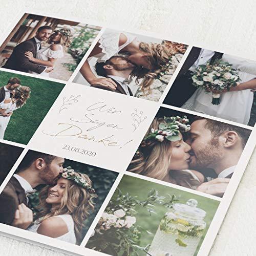 sendmoments Danksagung zur Hochzeit, Unsere Geschichte, 5er Klappkarten-Set, personalisiert mit Text & Fotos, wahlweise Goldfolien-Veredelung, optional Design-Umschläge