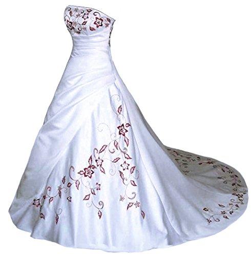 Vantexi Trägerlos Rot Stickerei Satin Hochzeitskleid Brautkleid Weiß Größe 54