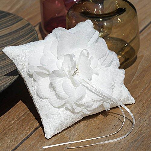 EinsSein 1x Ringkissen Hochzeit klein 15x15 Blume Creme Traukissen Ringe Eheringe Flower Basket Herzen Schmuck Schleife Tüll Füllung Deko Vintage