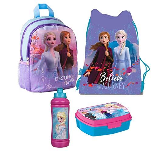 Frozen Eiskönigin 4 Teile Set Rucksack Tasche Kindergarten Brotdose Turnbeutel mit Sticker von Kids4shop