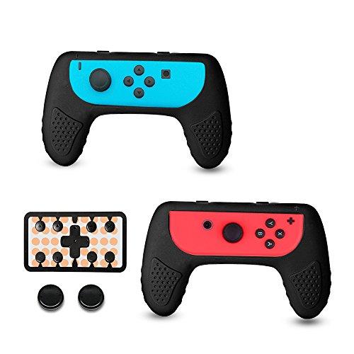 CHIN FAI für Nintendo Switch Joy-Con Grip-Controller-Gehäuse mit Thumbstick-Kappen 2er-Pack, verschleißfestes Joy Con-Griffgriff-Zubehörset