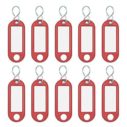 Wedo 262103402 Schlüsselanhänger Kunststoff (mit S-Haken, auswechselbare Etiketten) 10 Stück, rot