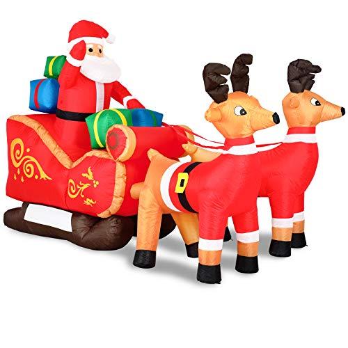 Monzana Aufblasbarer Weihnachtsmann mit Schlitten LED Beleuchtet Rentiere Weihnachten Santa Deko Weihnachtsdeko Figur