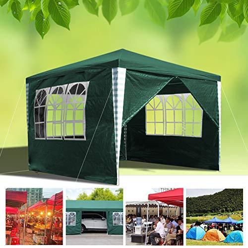 wolketon Pavillon 3x3M Wasserdicht Gartenpavillon Festival Sonnenschutz Gartenzelt Allzweck-Pavillon mit 4 Seitenteilen