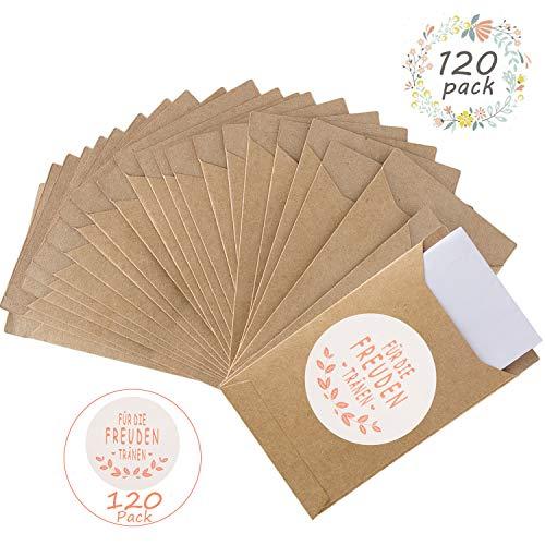 FORMIZON 120 Freudentränen Geschenktüten & Sticker Taschentuch, Mini Geschenktüten aus Papier, Aufkleber Papiertüten Geschenk für Freudentränen Taschentücher Hochzeit Adventskalender Weihnachten