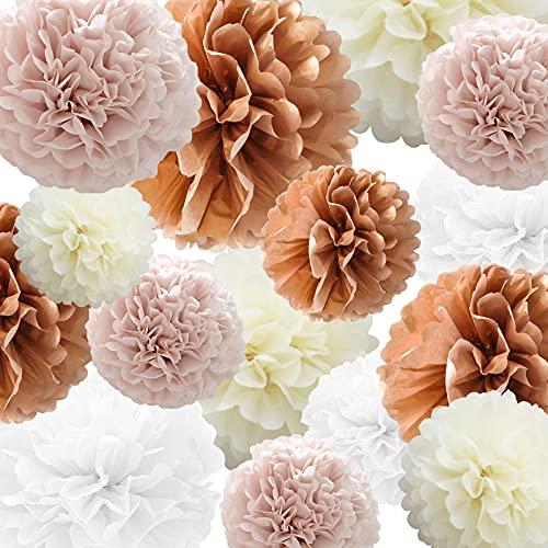Seidenpapier Pompons Papier Blume 22 Stück Dusty Pink, Roségold, Elfenbein, Weißbuch Blume Ball zum Geburtstag Bachelorette Hochzeit Babyparty Brautparty Party Dekoration