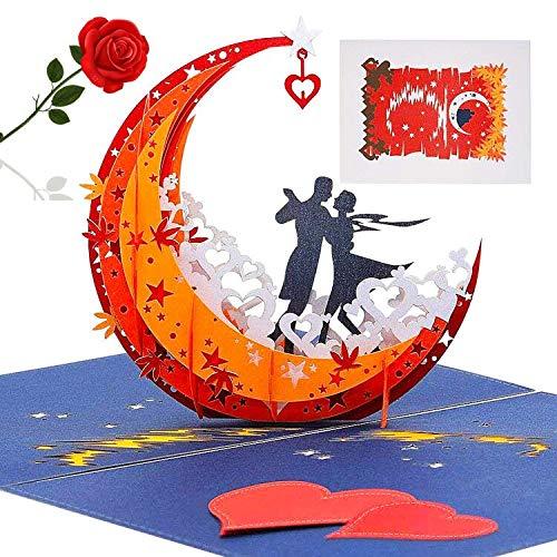 3D Popup-Grußkarte, FANDE 3D Pop Up Hochzeitskarte, 3d Karte, Romantik Faltkarte Grußkarte Valentinstag Karte mit Umschlag, Geburtstagskarte - Tanzen Auf Dem Mond