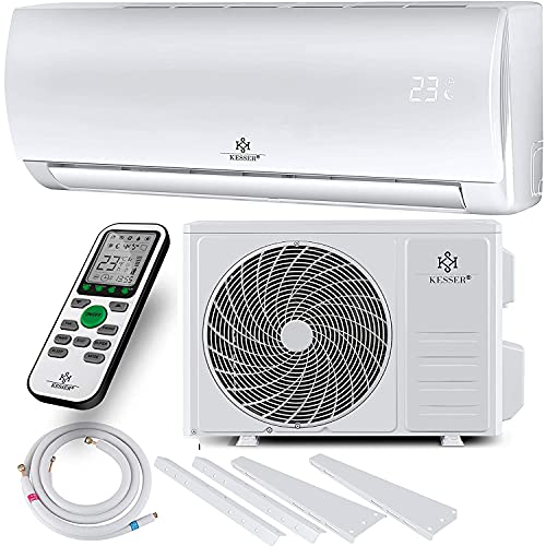 KESSER® Klimaanlage SET Split - mit WiFi/App Funktion Klimagerät - Kühlen A++/ Heizen A+ - 9000 BTU/h (2.600 Watt) Kältemittel R32 - Fernbedienung, Timerfunktion - Inkl. komplettem Montagematerial