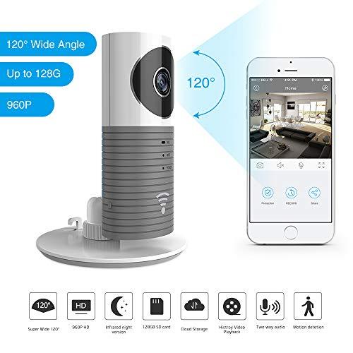 Clever Dog 2nd Generation 960P 120 ° Weitwinkelobjektiv Wireless Sicherheit WiFi-Kamera Unterstützung Max 128GB SD-Karte/Support Cloud Stotage (mit Adapter) (Grey)