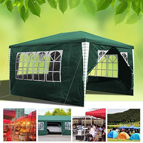 wolketon Pavillon Wasserdicht Gartenpavillon mit Seitenwände Polyethylen Bierzelt Tür mit Reisverschluss für Garten Party Hochzeit (3x4M, Grün)