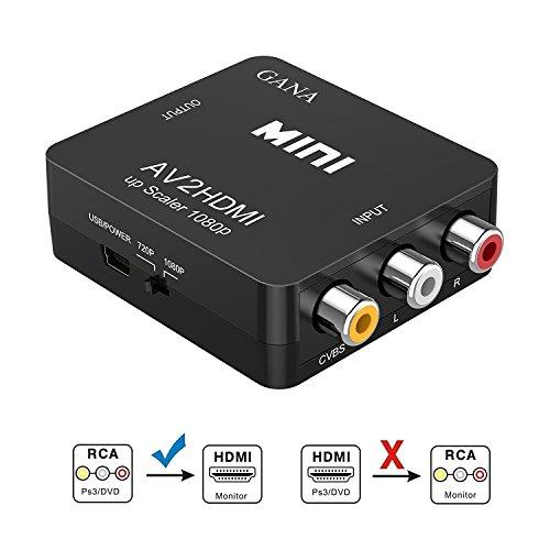 RCA auf HDMI Adapter   GANA AV auf HDMI Konverter AV zu HDMI Adapter Unterstützung 1080P mit USB Ladekabel Schutzhülle für PC/Nintendo/Xbox/PS4/PS3/TV/STB/VHS/VCR/Kamera/DVD(Schwarz)