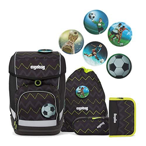 Ergobag Cubo Schulranzen Set 5-teilig Drunter und DrüBär mit Wunschkletties für Jungen (Fussball)