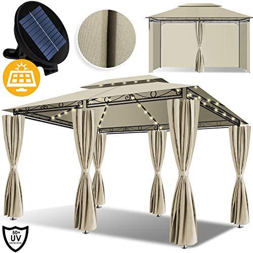 Kesser® - Pavillon 3x4m LED inkl. Seitenwände mit Reißverschlüsse, mit LED Beleuchtung + Solarmodul, Eckig Festzelt Partyzelt Gartenlaube Gartenzelt Gartenpavillon UV-Schutz 50+, Beige