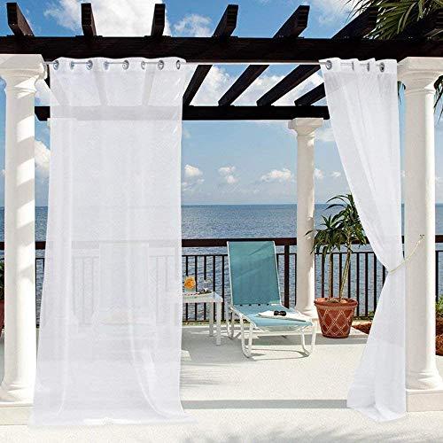 Clothink Outdoor Vorhänge mit Ösen 132x215cm Weiss(1 Stück) - Winddicht Wasserdicht Vorhänge Outdoor Gardinen, Mehltau beständig, für Gartenlauben Balkon, Strandhaus Vorhalle, Pergola, Cabana