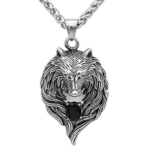 Detaillierte Antik Tribal Biker Herren Anhänger Wolf head Halskette mit Dazzling schwarz Onyx Zirkonia–Edelstahl–-chain