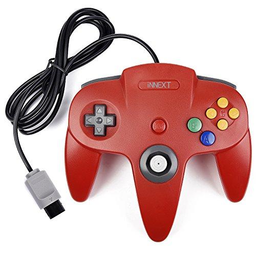 iNNEXT Retro 64 N64 Controllerunde Gamepad Controller Joystick für N64 Konsole N64 System,Rot