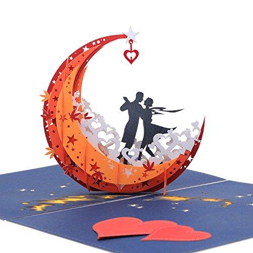 Hochzeitskarte, Pop Up Karte, Romantische Karte, 3d Karte, Geburtstagskarte - Tanzen auf dem Mond ¡
