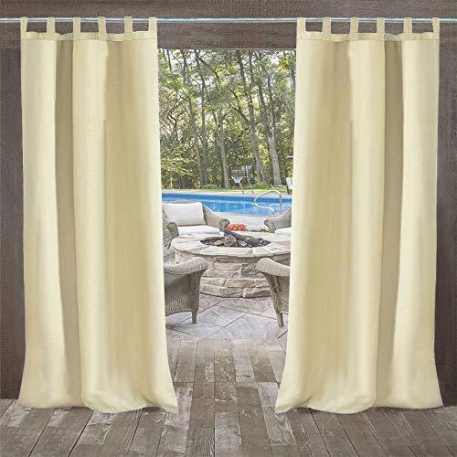 Outdoor Vorhang mit Schlaufen 6 Stück (132 * 215cm) Gartenlauben Balkon-Vorhänge Verdunkelungsvorhänge Wasserdicht Mehltau beständig für Pavillon Strandhaus