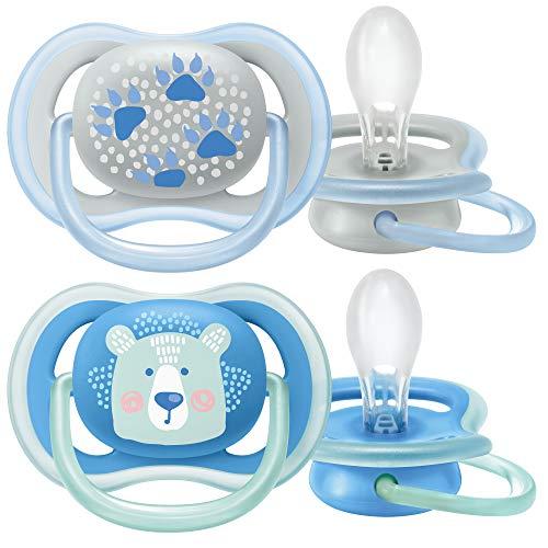 Philips Avent Ultra Air Schnuller SCF085/03, Atmungsaktiv, Kiefergerecht, BPA frei, 0-6 Monate, 2er Pack, Blau
