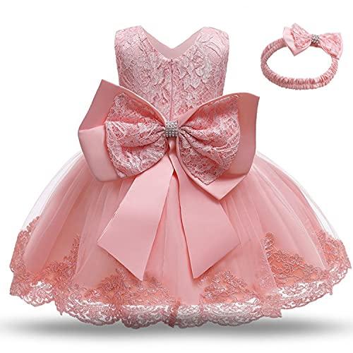 TTYAOVO Baby Mädchen Spitze Kleid Bowknot Blume Hochzeit Kleider Größe(90) 12-24 Monate 648 Hellrosa