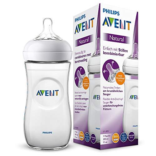 Philips Avent Natural Flasche SCF036/17, 330 ml, naturnahes Trinkverhalten, Anti-Kolik-System, transparent, 1er Pack