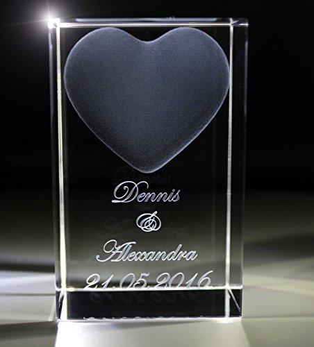 VIP-LASER 3D Glas Kristall Quader XL Herz mit Zwei Wunschnamen + Datum im Hochformat, Beleuchtung:kein Leuchtsockel