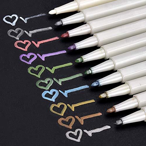 Premium Metallic Marker Stifte, Satz von 10 sortierten Farben Metallischen Stift Pens für Kartenherstellung Diy Fotoalbum Gästebuch Hochzeit Papier Glas Kunststoff Stein - feiner Spitze(1MM)