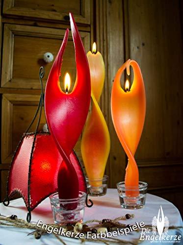 Rote Kerze Engelslicht handgemacht. Weihnachtsgeschenk oder Weihnachtsdeko auch als schöne Tischdeko. Werden Sie von dieser edlen Dekoration verzaubert