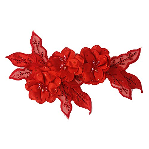 3D-Aufnäher Blume Perlen Strass Spitzenapplikation Patches Brautkleid verziert Motive für Haarbandbrosche 1 Stück rot